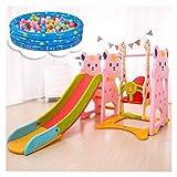 Diapositivas de bebé for niños pequeños, estructuras de juego interior con Swing, Puerta de fútbol, canasta de baloncesto, Bate de béisbol, puede ser utilizado con piscinas de bolas tobogan infantil
