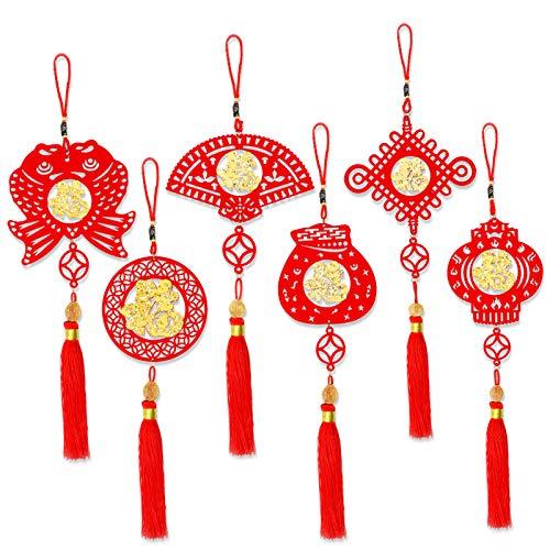 HOWAF 6pcs Chinesische Neujahr Hängen Dekorationen Ornament, Gold Rote Quaste Chinesischer Knoten Anhänger Frühlingsfest Dekorationen Hängen für Auto Tür Fenster Wand Nach Hause Deko