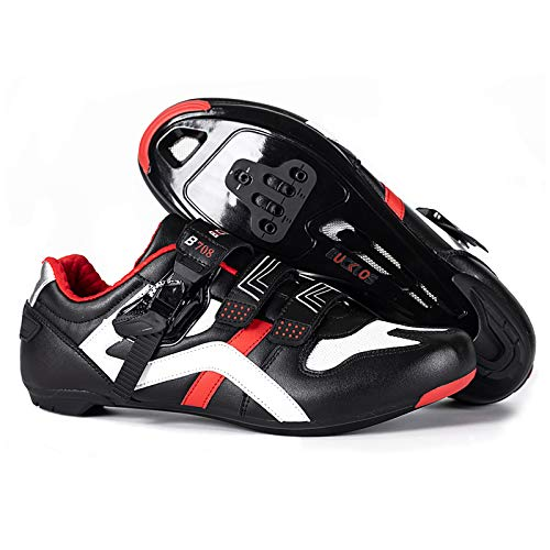BUCKLOS Road Cycling Shoes Men Women, Precise Buckle Strap Mountain Bike Shoes Sneakers Spin Shoes MTB Bicycle Shoes Compatible with Peloton SPD Look Delta(Road Cycling Shoes,UK12)