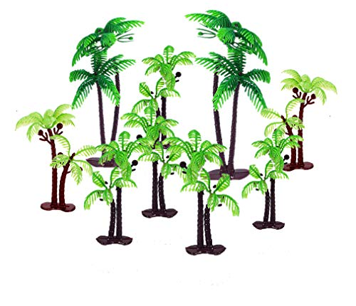 OBUY 12 Pieces 3.15-inch and 5.5-inch Green Palm Tree Cake Topper Decorated with Coconut Cake Topper Cake Decoration or Model, Sand Table Decoration.