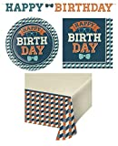 Hipster Birthday Disposable Paper Party Supplies 16 Dinner Plates, 16 Lunch Napkins, Table Cover, Banner, Recipe