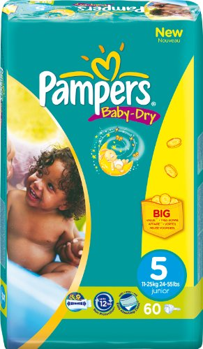 PAMPERS Baby Dry envase Talla 5 11 – 25 Kg/60 unidades)