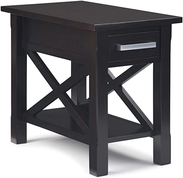 Simpli Home AXCRGL009 Kitchener Solid Wood 14 Inch Wide Contemporary Narrow Side Table In Dark Brown