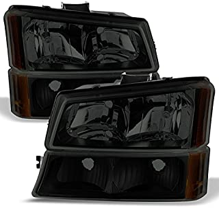 For Black Smoked 03-06 Chevy Silverado Headlights Replacement + Bumper Signal Light Lamps 4pcs Set