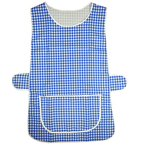MyShoeStore Check Tabard Dames Dames Thuis Werk Keuken Schoonmaak Chef Catering Cleaners Werkkleding Overall Piping Edge Geruit Tabbard Schort Grote Pocket Side Button Bevestiging