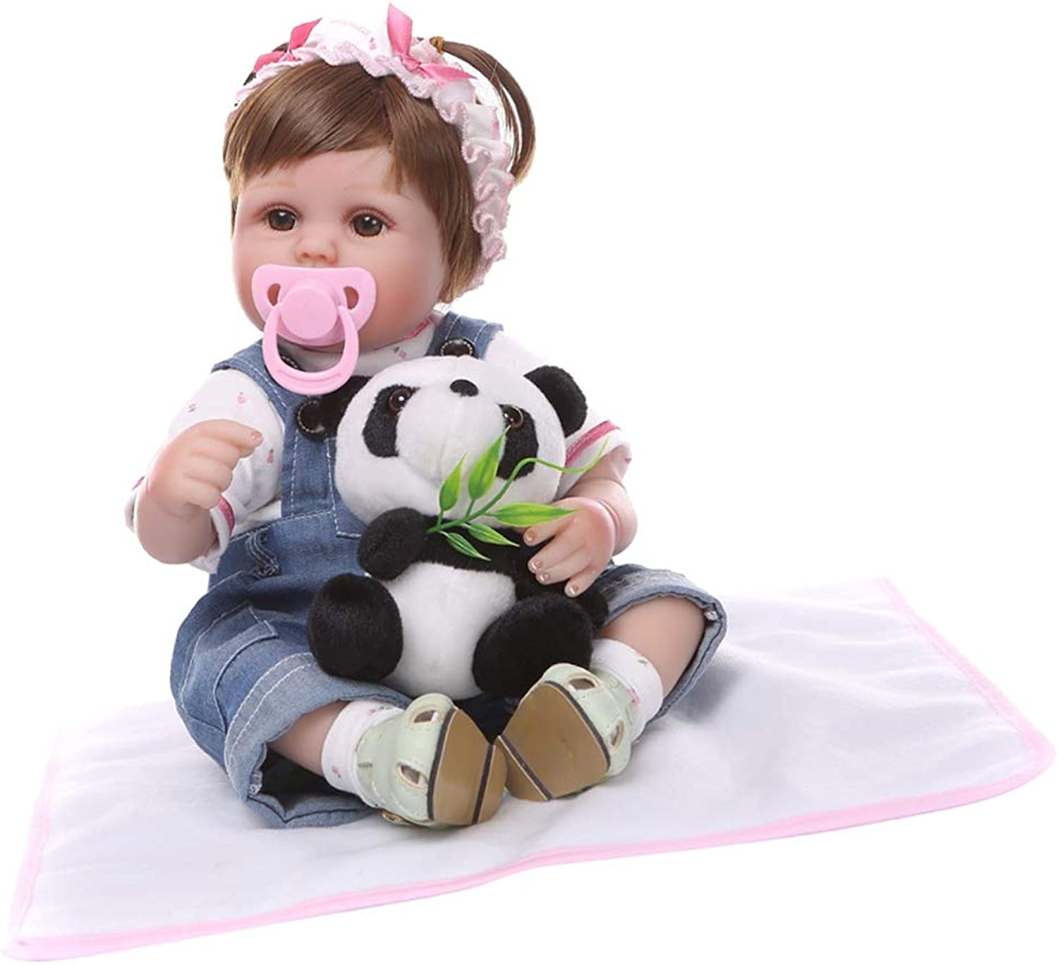 FITYLE Real Touch 17inch Reborn Doll Newborn Baby Doll with Clothes, Nursing Bottle, Magnetic Pacifier, Carpet and Mini Plush Toy
