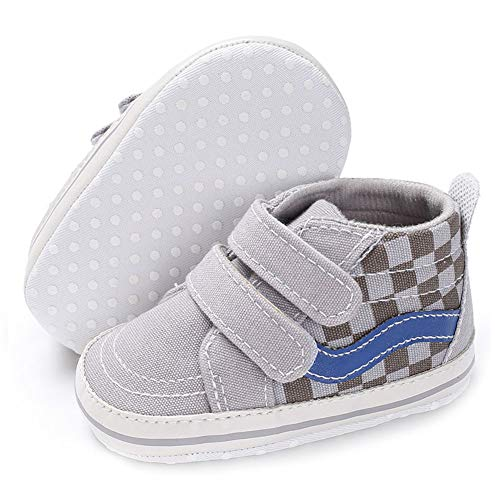 Baby Girls Boys Canvas Sneakers Soft Sole High-Top Ankle Infant First Walkers Crib Shoes (6-12 Months Infant, E-Gray)