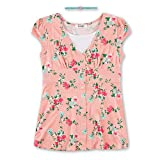 Speechless Big Girls Floral Button Front Yummy Top, Coral Pink, M