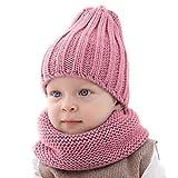 puseky Sciarpa Cappello da Bambino Bambino 2 Pezzi Set Caldo Cappello a Cuffia Cappello da Sci e Scaldacollo per Neonate