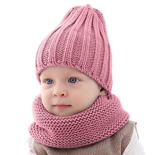 Yinuoday Baby Mütze Schal für Jungen & Mädchen, Stricken Kleinkind Winter Beanie Cap Kreis Schal für Jungen
