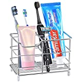Famistar Electric Toothbrush Holder, Stainless Steel Bathroom Storage Organizer Stand Rack - Multi-Functional 6 Slots for Large Powered Toothbrush, Toothpaste, Cleanser, Comb, Razor