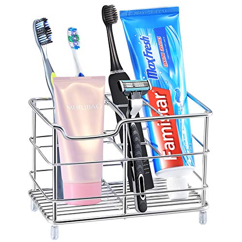 Famistar Electric Toothbrush Holder Stainless Steel Bathroom Storage Organizer Stand Rack  MultiFunctional 6 Slots for Large Powered Toothbrush Toothpaste Cleanser Comb Razor
