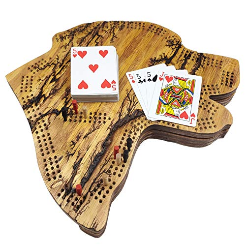 Fractal Burned Dog Head Cribbage Board Game Set with Hidden Storage Base and a Hanger on The Back for Wall Decoration. Continuous 3-Track Board with Skunk Lines
