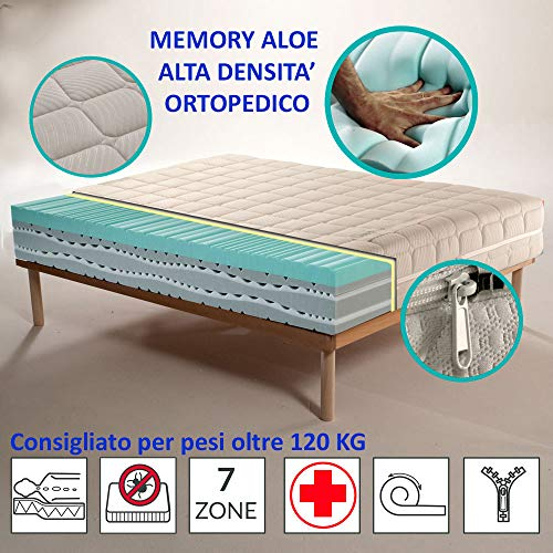 Olimpo Materasso Ortopedico Detraibile Memory Foam HD Aloe H28 cm Prodotto Full Made in Italy, non di importazione, singolo 90x200
