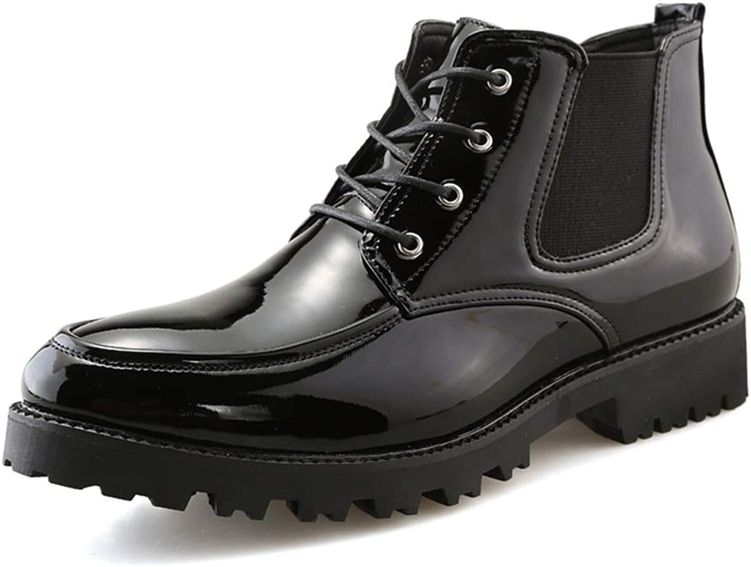 BND-SHOES ,Men's Fashion Ankle Boots Casual Hit color Round Top Waterproof Outsole British Style shoes Durable,Stand Wear and Tear (color   Warm Black, Size   6 UK)