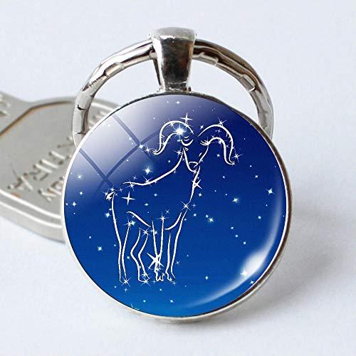 Zbzmm Keychain Kerstverjaardagscadeau-leuk blauw 12 constellatie-dierkrikels cabochon sleutelhanger leeuwen-bescherming sleutelhanger Ringen rond