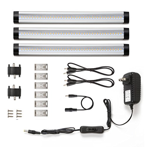 LE Under Cabinet LED Lighting, 3 Panel Kit, Total of 12W, 900lm, 12V Warm White, 24W Fluorescent Tube Equivalent, All Accessories Included, Closet Light, Under Counter Lighting