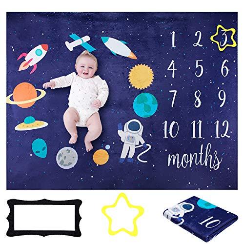 Manta Bebé de Hitos Mensuales, ANSUG 100 x 130cm Mensual Niñas Bebé Franela Fotografía de Fondo para Bebé Recién Nacido Futuras Mamás