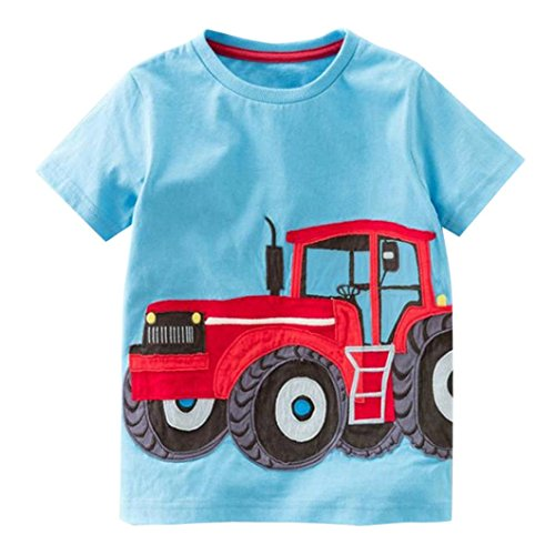 kinderkleidung,Yanhoo TX-D50044 Kinder Kurzarm Cartoon Traktor/Fahrrad/Dart/Krokodil Print T-Shirt (2 Jahre ~ Jahre) (Blau, 100)