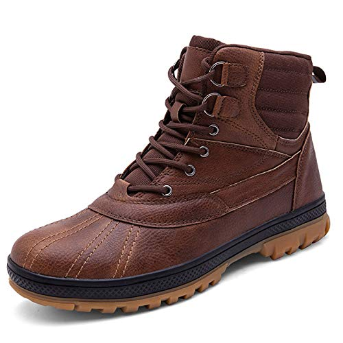 FOGUO Excursion Waterproof Boots - Leather Training Military Boots, Cushioned Footbed Footwear, Sturdy Grip - Best for Travelling, Hiking, Outdoors, Camping,Brown-45