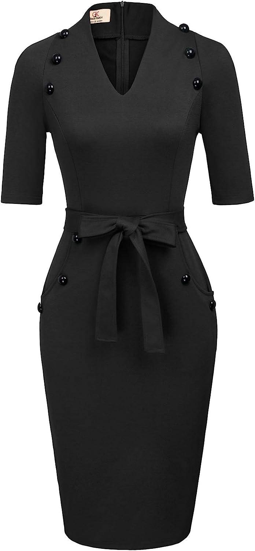 Women Vintage Short Sleeve Slim Fit Belted Business Pencil Dress