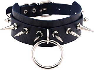 COLORFUL BLING Gothic Adjustable Punk O-Ring Metal Spike Studded Pu Leather Choker Necklace for Women Men Rock Collar Part...
