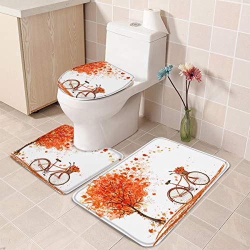 Toilet Mats for Bathroom U Shaped Lid Cover Set of 3, Bathmat Water Absorbent Foam Contour Mat,Watercolor Fall Season Landscape with Leaves Flying in Breeze Bicycle 18''x30''+14''x18''+15''x18''
