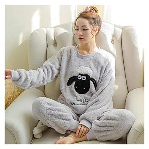 Pijamas de invierno Dibujos animados Pijama Set Nightwear Pijama Hogar Traje Mujer Lencería Flannel Invierno Pijama Linda Ovejas Encuadre de cuerpo entero Cálido ( Color : Gray , Size : XXLage )