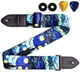 Guitar Strap, KINPHY Guitar Strap Acoustic Include 2 Guitar Picks and Guitar Straps Lock, Leather Ends & Polyester, Guitar Accessories for Bass Acoustic Electric Guitars (Van Gogh 'Starry Night')