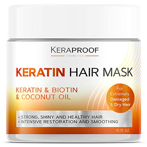 Keratin & Biotin Hair Mask - Best Deep Conditioner Treatment for Dry, Damaged, Color Treated & Curly Hair - D-Panthenol & Coconut Oil Vitamin Hair Complex - Natural Hair Repair & Conditioning - 10 Oz
