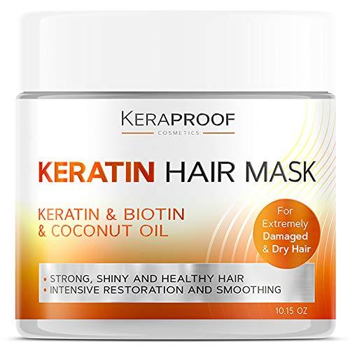 Keraproof - Biotin & Keratin Collagen Hair Mask - Treatment for Dry & Damaged Hair - Collagen Hair Vitamin Complex - Best Hair Repair for Women & Men - Hair Nourishment with D-Panthenol 10.15 Oz