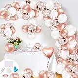 Humairc Arche Ballon Rose Gold - Kit Arche Ballon Anniversaire Fille Rose Blanc - Ballon Guirlande Femmes - pour Décoration Fond Fête Mariage Arche Douche Bébé - Facile A Monter