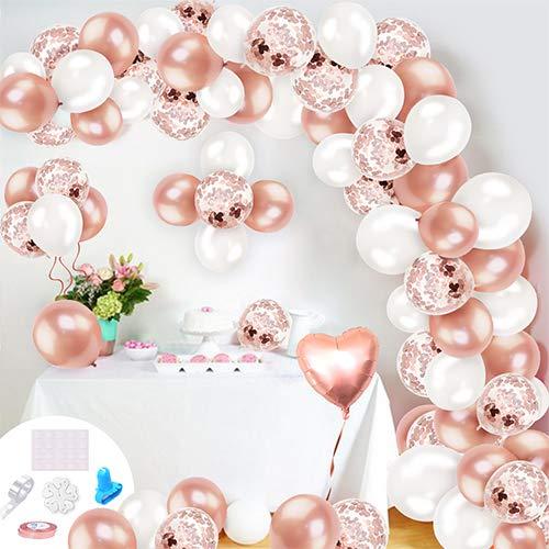 Humairc Rose Gold Ballonbogen Kit Ballonbögen Girlande Set, Konfetti Ballons Streifen Band Bindewerkzeuge für Mädchen Frauen Geburtstag Hochzeit Babyparty Dekoration