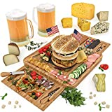 CheeserWe Bamboo Cheese Board & Knife Set - Wooden Serving Tray for Charcuterie Meat Platter, Fruit & Crackers - Perfect for Birthday, Housewarming & Wedding Gifts