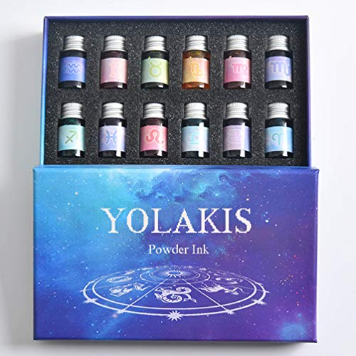YOLAKIS Calligraphy Pen Ink, 12 Color Drawing Ink Glass Dip Pen Ink Set Gold Powder Artistic Ink with Gift Box (12 Color)