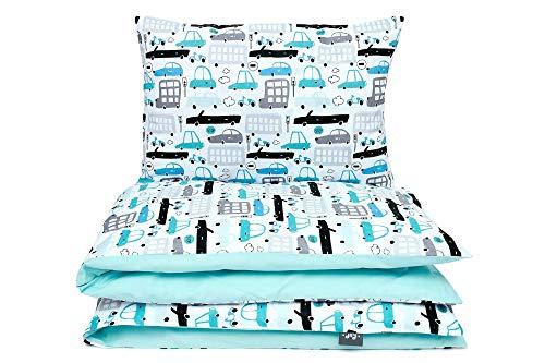 Kinderbettwäsche Set Baby Bettwäsche Bettbezug 100 x 135, fur Baby und Kinder, 100% Baumwolle Hergestellt in Europa (Autos)