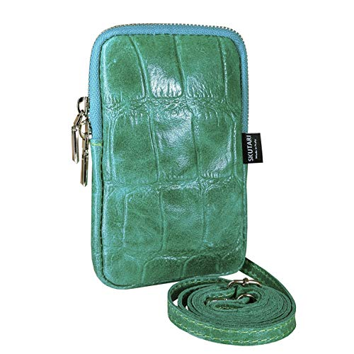 SKUTARI Women Leather Cell Phone Bag, Real Leather Shoulder Bag, Wallet, Leather Cell Phone Bag with Long Strap, Made in Italy, 11cm x 17cm 2cm