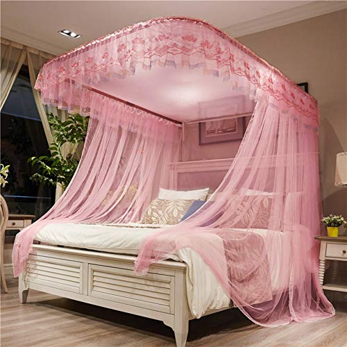 Great Deal! GE&YOBBY Pink Bed Canopy,Princess Adjustable Mosquito Net Guide Rail Encryption Yarn Lac...