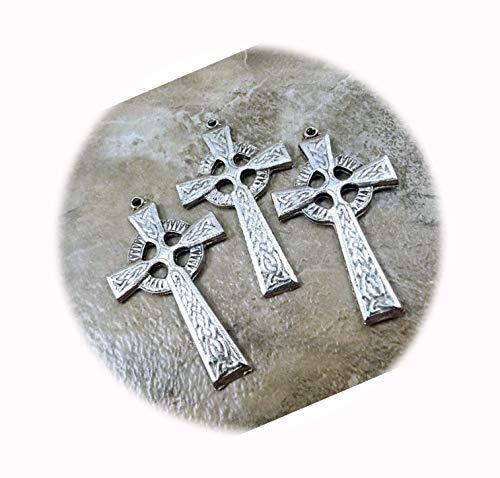 3 Pewter Celtic Cross Pendants Adorable Charms and More for Your own Designs by CharmingStuffS
