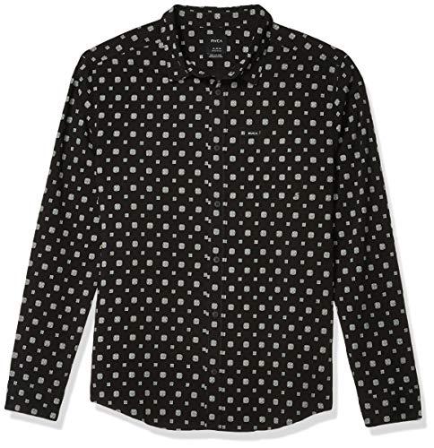 RVCA Men Costello Floral Long Sleeve Shirt Black Medium