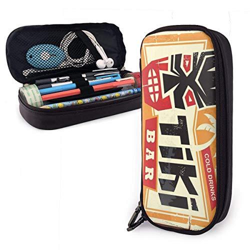 Tiki Bar Vintage Cartel de chapa Estuche de lápices portátil Lindo bolso de cuero para bolígrafos Organizador de papelería de escritorio con cremallera Soporte de bolígrafo de gran capacidad para la
