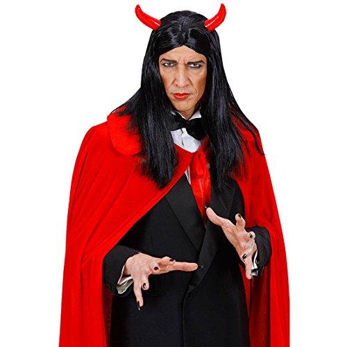Amakando Perruque de Diable Satan avec Cornes Cheveux Longs Diablesse Démon Enfer Soirée Halloween Devil Déguisement Accessoire