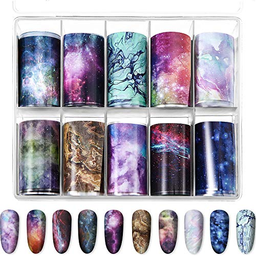 10 Sheets Fashion Art Nail Foil Transfer Stickers, Nail Decals Transfer Foil Box, DIY Decoration for Women and Kids, 10 Colors (Starry Sky Patterns)