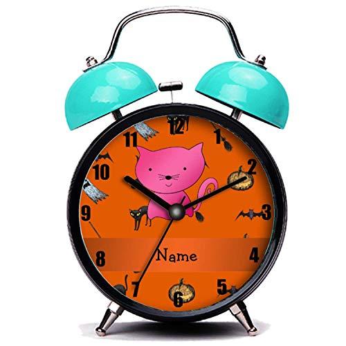 GIRLSIGHT Blauer Wecker, Nette Katze Personalisierte Name Katze Halloween-Muster Twin Bell Wecker mit Nachtlicht