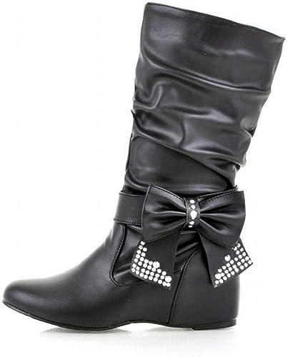 ZHRUI schuhe para damen - Altura Aumentada Sobre la Rodilla Stiefel elásticas Stiefel Planas Stiefel Altas de otoño e Invierno 36-47 (Farbe   schwarz, tamaño   39)