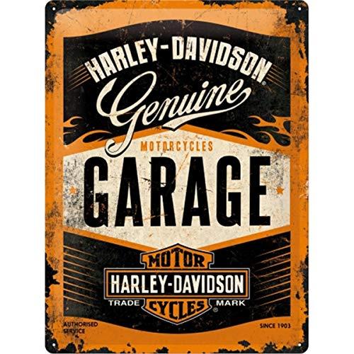 Nostalgic-Art Targa Vintage Harley-Davidson – Garage – Idea Regalo per Amanti di Moto, in Metallo, Design Retro per Decorazione, 30 x 40 cm
