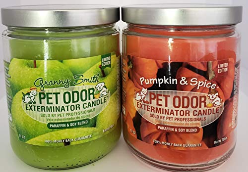SPECIALTY PET PRODUCTS Pet Odor Exterminator Candle, Granny Smith (13 oz.) & Pumpkin Spice (13 oz.) - Pack of 2 (one of Each)