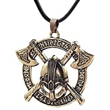 AdorabFruit Présent Pendentif Astilla de Oro Colgante Collar de Hombres de Viking Odin Cuervo eslava Amuleto Casco Redondo Color Regalo de la joyería Collares (Metal Color : Gold)