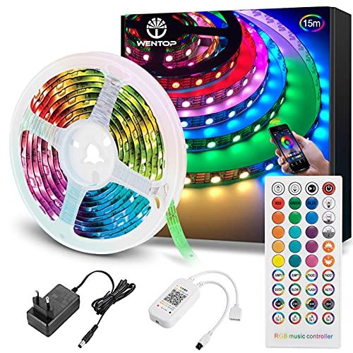 WenTop Tiras LED Bluetooth 15m, 5050 RGB Tiras de luces LED con IR Control Remoto y Inteligente Control de APP, Tira LED Cambia el Color con la Música, Para Decoración de Habitación, Fiestas, Cocina