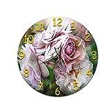 LUOYLYM Flores Sala De Estar Arte 3D Reloj De Pared Digital Acrílico Mudo Hogar Creativo Moda Reloj Redondo Espejo P190430-213 (Luminous Pointer) 28CM